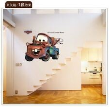 Pixar cars Mater kids room All Roads Lead to Rome quote decor 3D wall stickers