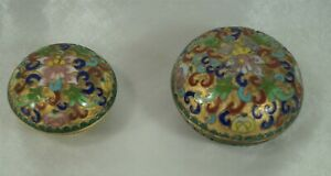 Antique Pair Small Asian Gilt Floral Champlevé Cloisonné Covered Lotus Boxes