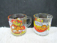 Lot of 2 Garfield 1978 McDonald's Collectible Glass Mugs/Cups, Kitchen Decor