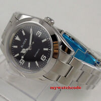 40mm bliger black dial sapphire glass deployment clasp automatic mens watch B156