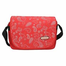 Jeep Ladies Girls Red Floral Print School Laptop Computer Messenger Courier Bag