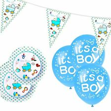 Boys Blue Baby Shower Party Bunting Balloons Paper Plates Bundle Set Decoration