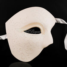 Phantom of the Opera - White Venetian Masquerade Mask with Glitters