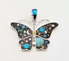 FASCINATING ARTISAN BUTTERFLY PENDANT IN TURQUOISE/MULTICOLOR INLAY .925 SILVER