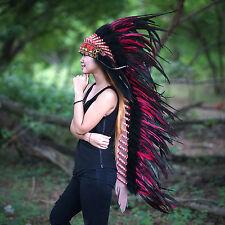Red Indian Headdress, Native American Warbonnet Replica, Costume Headdress