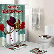 Christmas Serie Printing Waterproof Bathroom Shower Curtain Toilet Cover Mat