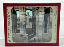 Keystone View Co. Glass Slide Color Tinted - Temple of Luxor Lotus Pillars #9735