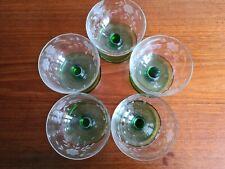 More details for vintage delicate glass sundae dishes x 5 etched glass with green base