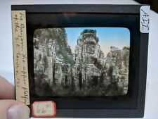 Colored Glass Magic Lantern Slide AII Cambodia Angkor Buddhist Bayon SE TOWER