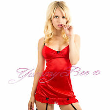 76d845c95d 5055738415751 Yummy Bee Lingerie Satin Babydoll Dress Set Suspenders 20 Red
