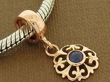 Bd103/76 Solid 9K Rose Gold Natural Sapphire Fleur-de-Lis Dangle Drop Bead Charm