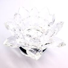 LARGE CRYSTAL CUT LOTUS ROTATING ORNAMENT FLOWER WITH GIFT BOX CLEAR COLOUR