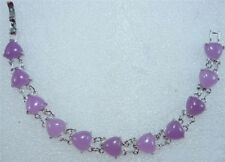 Purple Jade Heart 18KWGP Link Clasp Bangle Bracelet