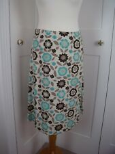 Salt Water retro turquoise blue / brown floral print skirt size 10 NEW