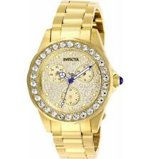 Invicta Angel 28461 Women's Round Gold Tone Crystal Pave Day/Date Watch
