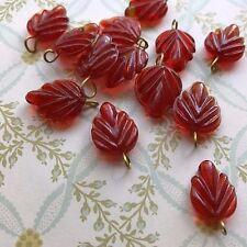 Vintage Leaf Drops, Dangles,Leaf Charms, Czech Pressed Leaves Brick Red NOS 623