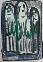Michel CHAPUIS Benezit Cobra Outsider Art Brut  pastels sur papier1991