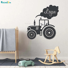 Custom Name Tractor Kids Truck Home Decor Baby Room Nursery Wall Stickers Mural