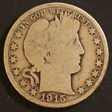 1915 S Circulated Barber Half Dollar Coin