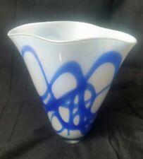 """white & blue art glass vase poland 10 3/8"""""""