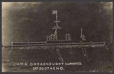 Royal Navy Postcard. Battleship HMS Dreadnought Illuminated off Southend. RPPC