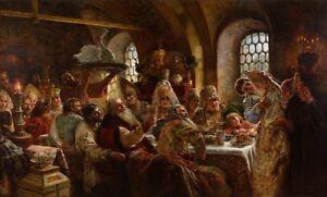 "perfect 36x24 oil painting handpainted on canvas""A Boyar Wedding Feast ""@N15114"