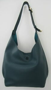 Tory Burch Turquoise Pebbled Leather Hobo Crossbody Bag