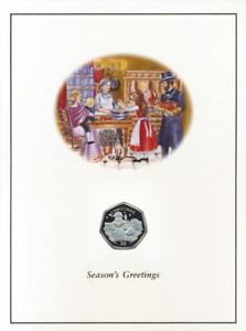 GIBRALTAR 50 PENCE CHRISTMAS XMAS SANTA CLAUS IN CHIMNEY in FOLDER 1998 BUNC