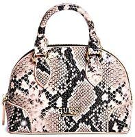 NWT GUESS DOME HANDBAG Sm Pink Snake Logo Satchel Crossbody Shoulder Bag GENUINE