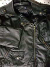 Womens CHAPS Leather Jacket NEW Black Long Sleeve Full Zip Size Large