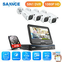 "SANNCE 8CH 1080P Security Camera System CCTV DVR 10.1"" Monitor White Bullet HDD"