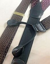 Suspenders Braces Black Brown Plum Microprint Grid Leather Button Brass England