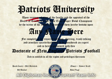 New England Patriots Nfl #1 Fan Certificate Man Cave Diploma Perfect Gift