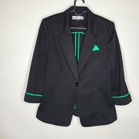 Tahari by Arthur S. Levine Black Green One Button Textured Blazer Jacket Size 12