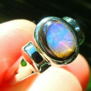 Natural Boulder Opal Queensland Australia Sterling Silver 925 Ring Sz8 18mm