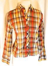 Vintage 1960s Carol Brent Red Purple Plaid Western Cotton Button Down Shirt Med