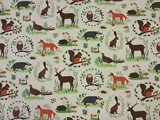 HAPPY FOREST STORY CURTAINS DRESSMAKING KIDS CHILDREN'S FABRIC HARE BADGER T13