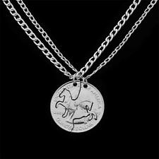 2Pcs Horse Silver Pld Charm Necklace Pendant Women Party Lover Gift Vintage BFF