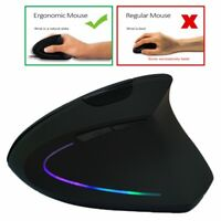 RGB Color Wireless Vertical Mouse 2.4GHz Game Ergonomic 1600DPI USB Adjustable