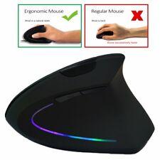 RGB Color Wireless Vertical Mouse 2.4GHz Game Ergonomic 1600DPI USB Adjustable
