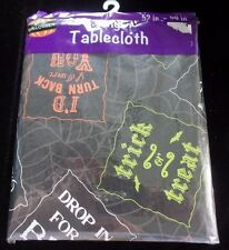 NEW TABLE CLOTH HALLOWEEN 52 X 90 VINYL DECORATION TURN BACK ENTER AT OWN RISK @