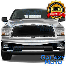 09-12 Dodge RAM 1500 Front Hood Black Mesh Grille+Rivet+Replacement Chrome Shell
