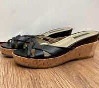 Womens Nine West Black Leather Cork Flatform Wedge Mid Heel Sandals Sliders 5