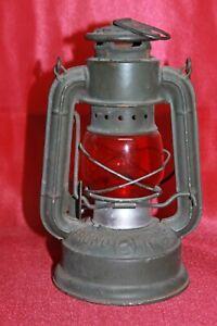 TOP - 2.WK alte Petroleumlampe FROWO 45 olivgrün Glas rot - kerosene lamp