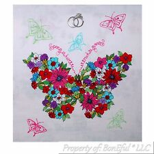 BonEful Fabric FQ Cotton Quilt White Butterfly Peace Flower Hippie Block Square