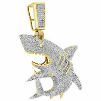 14K Yellow Gold Over Diamond Great White Shark Jaws Pendant Charm 2.41 CT.
