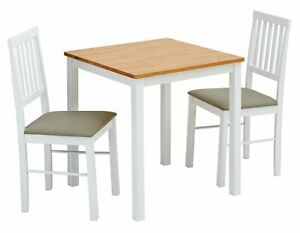 Home Kendal Solid Wood Table & 2 Two Tone Chairs
