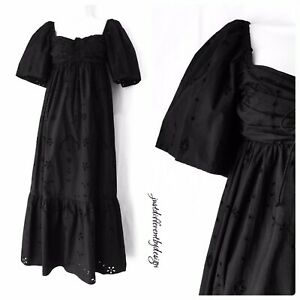 Zara Black Cotton Embroidered Cutwork Broderie Anglaise Frill Maxi Dress XS 8 10