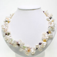WHITE BAROQUE SHAPED FRESHWATER PEARLS TWIST NECKLACE 925 SILVER CLASPS