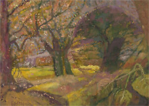 Keith Johnson (1931-2018) - Contemporary Oil, May Leaves on Green Lane